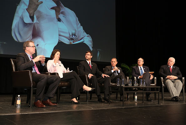he Meetings Mean Business panel at the 2014 AIBTM trade show at the Orange County Convention Center in Orlando