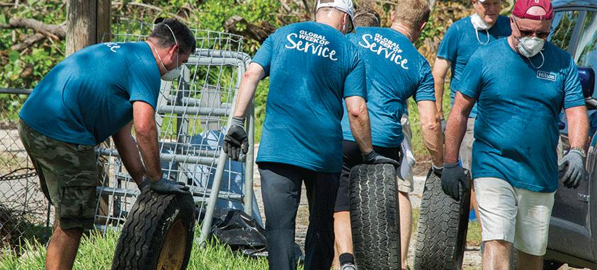 Volunteers helping after disaster